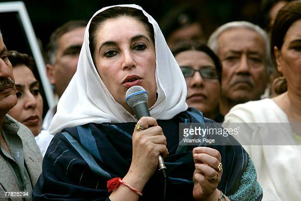 Former Pakistani Prime Minister Benazir Bhutto speaks to media after breaking through police lines outside her home on November 9 2007 in Islamabad...