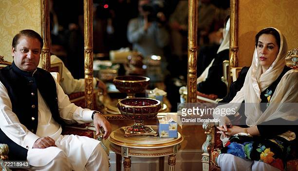 Former Pakistani Prime Ministers Mawaz Sharif and Benazir Bhutto meet on October 19 2006 in London England Former Pakistani Prime Minister Benazir...