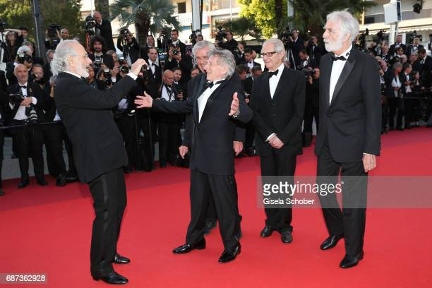 Former Palme D'Or winners Jerry Schatzberg Roman Polanski CostaGavras Ken loach and Michael Haneke attend the 70th Anniversary of the 70th annual...