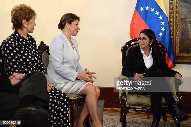 Former Panama's President Mireya Moscoso former Costa Rica's President Laura Chinchilla and Foreign Minister of Venezuela Delcy Rodriguez meet at the...