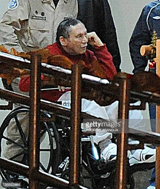 Former Panamenian dictator Manuel Noriega is seen after arriving at the Renacer prison 25 km south east of Panama City on December 11 2011 Panamanian...