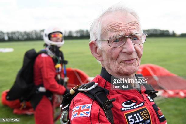 Former paratrooper Fred Glover speaks to the media following a skydive at the Old Sarum airfield on August 10 2017 in Salisbury England Chelsea...