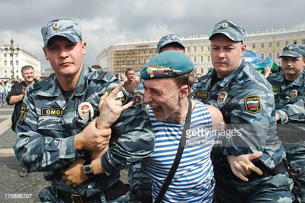 CONTENT] Former paratroopers were arrested by riot police after they attacked Kirill Kalugin a participant of a picket against homophobia on Russia...