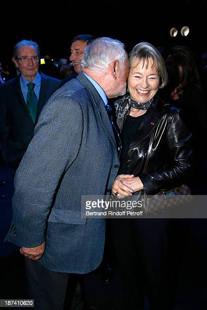 Former Paris Police chiefs Robert Broussard and Martine Monteil share a light moment as they attend the 100th Anniversary Of The Paris Judiciary...