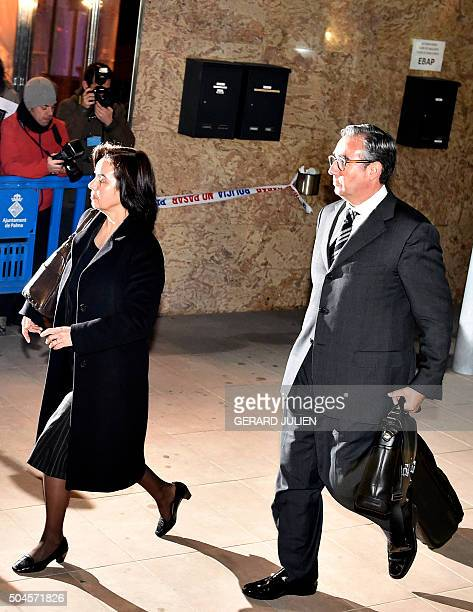 Former partner of Inaki Urdangarin Diego Torres and his wife Ana Maria Tejeiro leave after a hearing at the courtroom in the Balearic School of...
