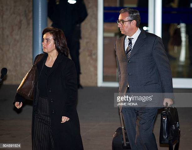 Former partner of Inaki Urdangarin Diego Torres and his wife Ana Maria Tejeiro leave the courtroom in the Balearic School of Public Administration...