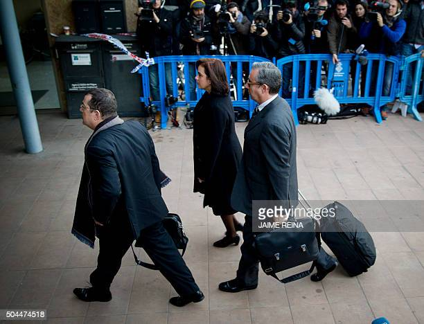 Former partner of Inaki Urdangarin Diego Torres his wife Ana Maria Tejeiro and their lawyer Manuel Gonzalez Peters arrive for a hearing held in the...