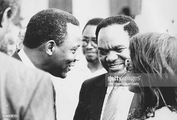 Former pastor of the New Bethel Baptist Church Walter Fauntroy and Wilson Goode exchanging greetings, Philadelphia, Pennsylvania, July 15 Original...