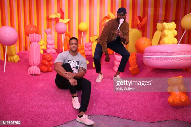 Former Patriots defensive lineman Corey Lewis and Thomas Drew pose for a photo at Museum of Ice Cream opening party on September 15 2017 in San...