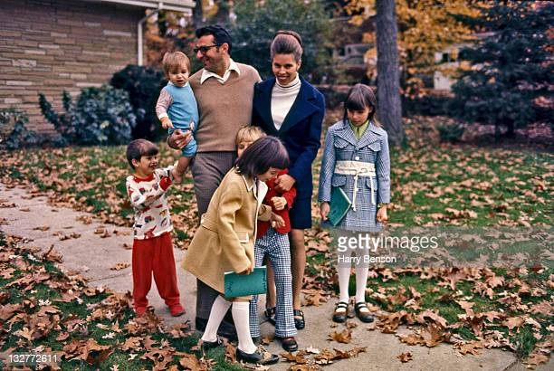 Former Penn State coach Joe Paterno is photographed with wife Sue Paterno and children Diana Jay Mary Kay David and Scott at Pennsylvania State...