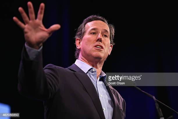 Former Pennsylvania Senator Rick Santorum speaks to guests at the Iowa Freedom Summit on January 24, 2015 in Des Moines, Iowa. The summit is hosting...
