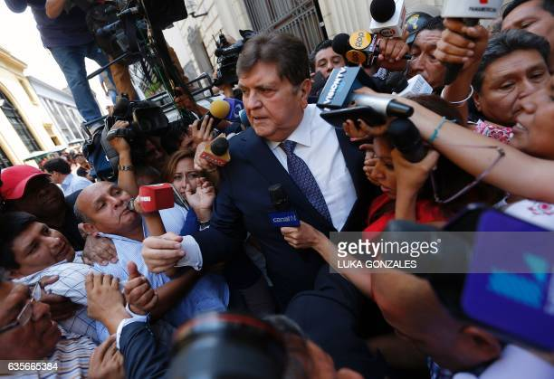 Former Peru's President Alan Garcia talks to the media after testifying on Brazilian construction giant Odebrecht bribes case at the anticorruption...