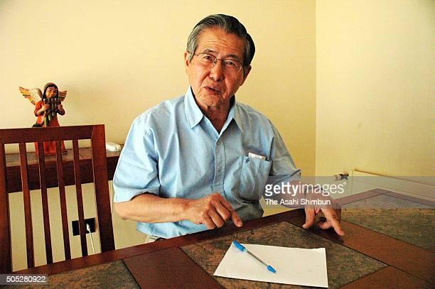 Former Peruvian President Alberto Fujimori speaks during the Asahi Shimbun interview on December 9 2006 in Santiago Chile