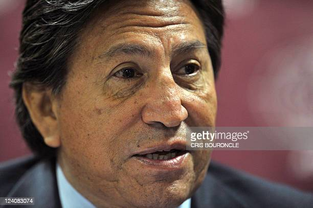 Former Peruvian President Alejandro Toledo participates in a press conference on September 8 2011 in Lima with foreign press correspondents days...