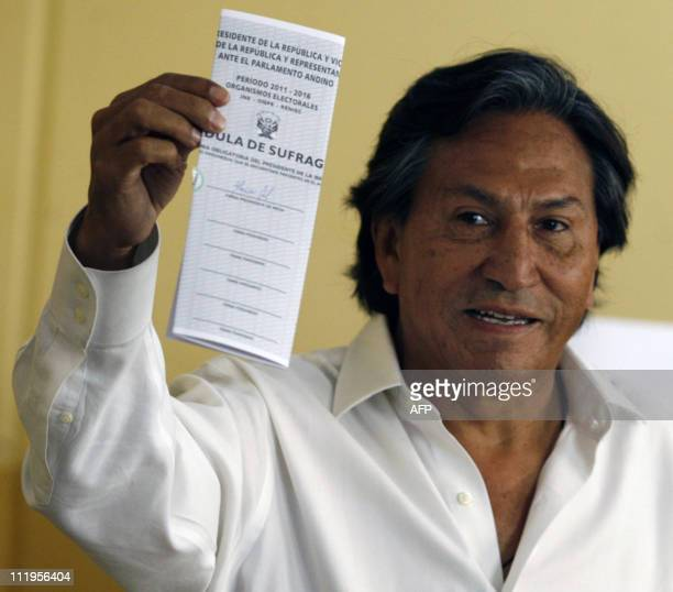 Former Peruvian President and presidential candidate for Alianza Peru Posible party Alejandro Toledo casts his vote during general election in Lima...