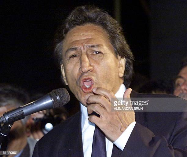 Former Peruvian presidential candidate Alejandro Toledo gives a speech during a rally called late 27 July 2000 to protest against the 28 July 2000...