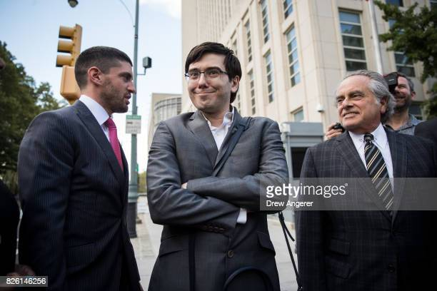 Former pharmaceutical executive Martin Shkreli and lead attorney Benjamin Brafman depart the US District Court for the Eastern District of New York...
