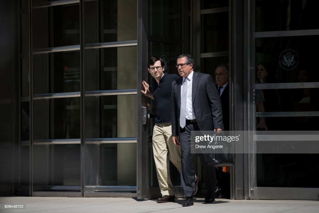 Former pharmaceutical executive Martin Shkreli exits the courthouse after the jury issued a verdict in his case at the U.S. District Court for the Eastern District of New York, August 4, 2017 in the Brooklyn borough of New York City. Shkreli was found guilty on three of the eight counts involving securities fraud and conspiracy to commit securities and wire fraud.