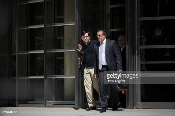 Former pharmaceutical executive Martin Shkreli exits the courthouse after the jury issued a verdict in his case at the US District Court for the...