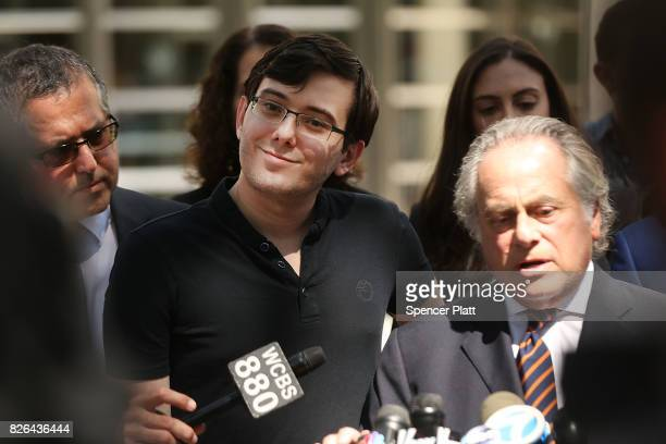 Former pharmaceutical executive Martin Shkreli speaks to the media in front of US District Court for the Eastern District of New York with his...