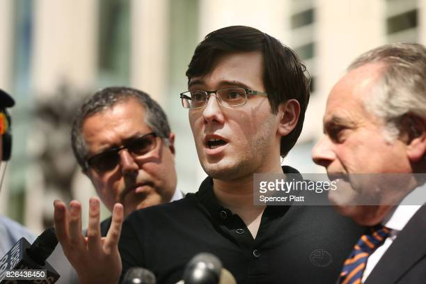 Former pharmaceutical executive Martin Shkreli speaks to the media in front of US District Court for the Eastern District of New York with members of...