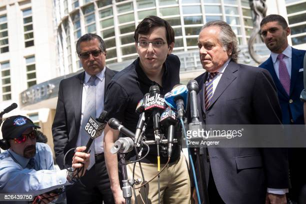 Former pharmaceutical executive Martin Shkreli speaks to the press after the jury issued a verdict in his case at the US District Court for the...