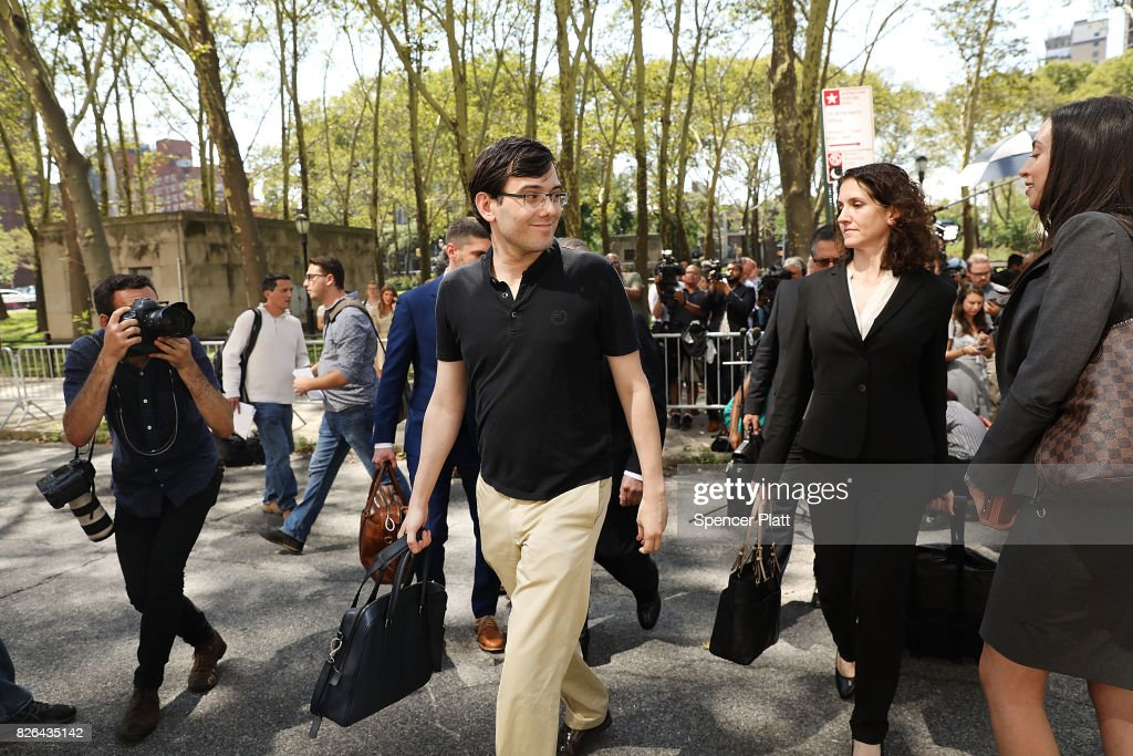 Former pharmaceutical executive Martin Shkreli walks away from the U.S. District Court for the Eastern District of New York after the jury issued a verdict, August 4, 2017 in the Brooklyn borough of New York City. Shkreli was found guilty on three of the eight counts involving securities fraud and conspiracy to commit securities and wire fraud.
