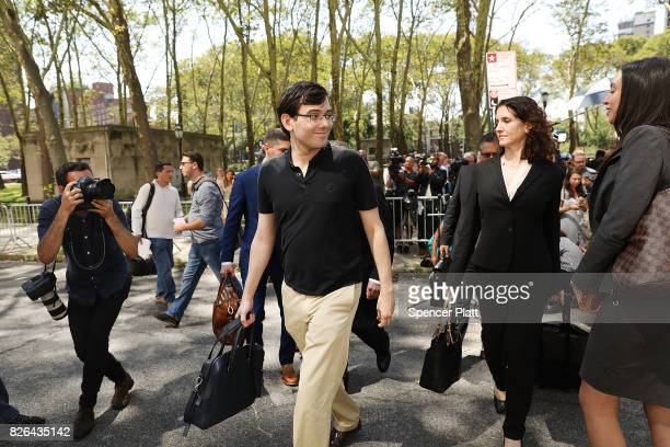 Former pharmaceutical executive Martin Shkreli walks away from the US District Court for the Eastern District of New York after the jury issued a...
