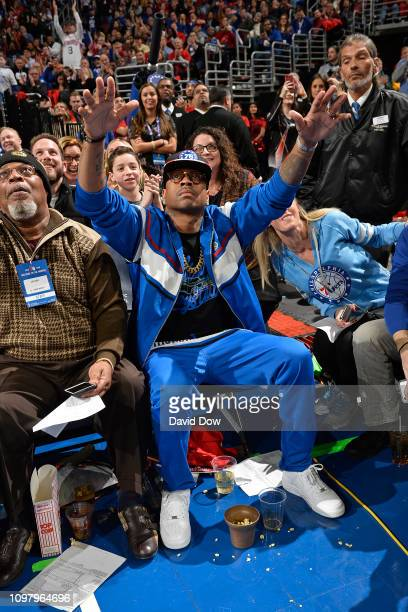 Former Philadelphia 76er Allen Iverson seen curtsied during the game between the Denver Nuggets and the Philadelphia 76ers on February 8 2019 at the...