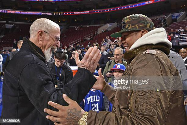 Former Philadelphia 76ers owner Pat Croce greets NBA Hall of Famer Allen Iverson before the Los Angeles Lakers game against the Philadelphia 76ers at...