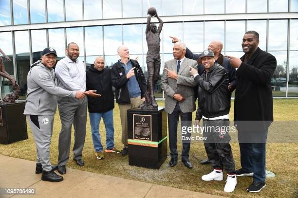 Former Philadelphia 76ers players gather during the Moses Malone Statue unveiling on February 08 2019 at the 76ers Training Facility in Camden New...