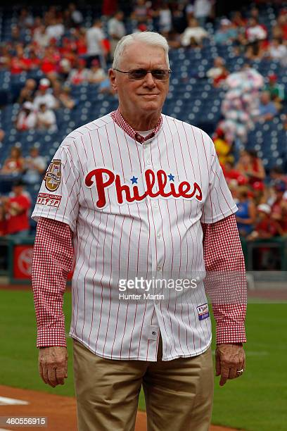Former Philadelphia Phillie and Hall of Famer Jim Bunning participates in Alumni Weekend ceremonies before a game against the Atlanta Braves at...