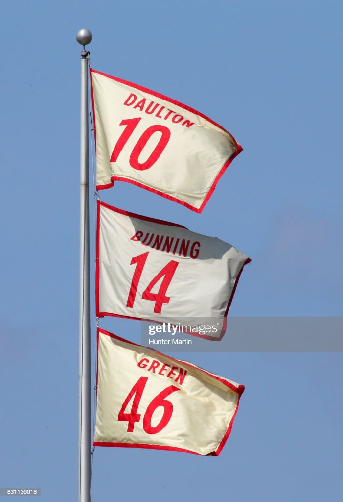 Former Philadelphia Phillies Darren Daulton, Jim Bunning and Dallas Green are honored as their names and uniform numbers are displayed on flags over the stadium in the fourth inning during a game between the Philadelphia Phillies and the New York Mets at Citizens Bank Park on August 13, 2017 in Philadelphia, Pennsylvania. The Mets won 6-2.