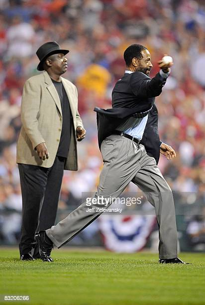 Former Philadelphia Phillies Garry Maddox and Gary Matthews throw out the ceremonial first pitch before Game One of the National League Championship...