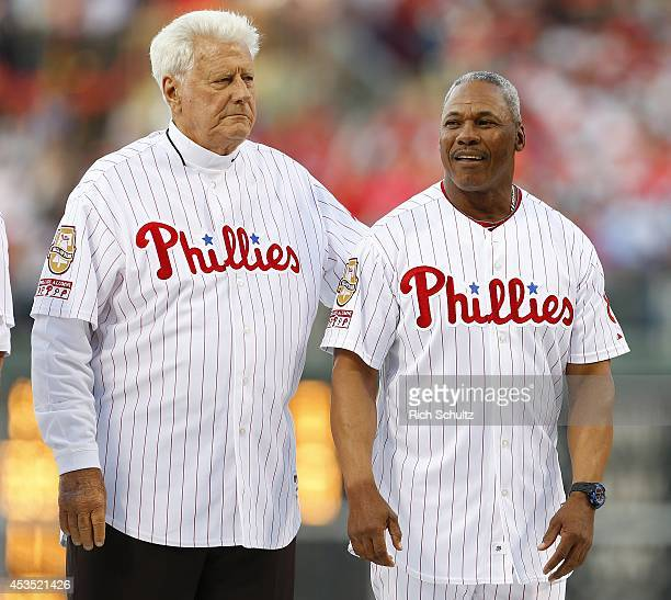 Former Philadelphia Phillies greats Dallas Green and Juan Samuel during a ceremony to honor former manager Charlie Manuel who was inducted to the...