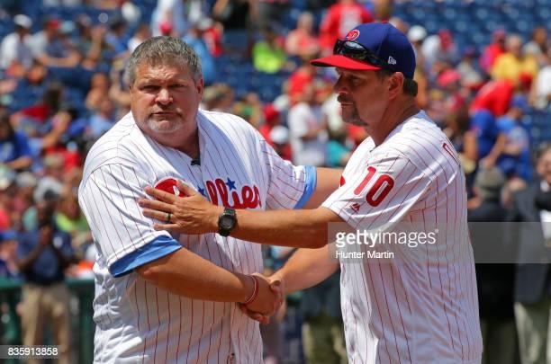 Former Philadelphia Phillies John Kruk and Mickey Morandini participate in Alumni Weekend ceremonies before a game between the Philadelphia Phillies...