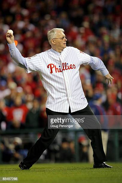 Former Philadelphia Phillies pitcher and US Senator Jim Bunning throws out the ceremonial first pitch prior to game five of the 2008 MLB World Series...