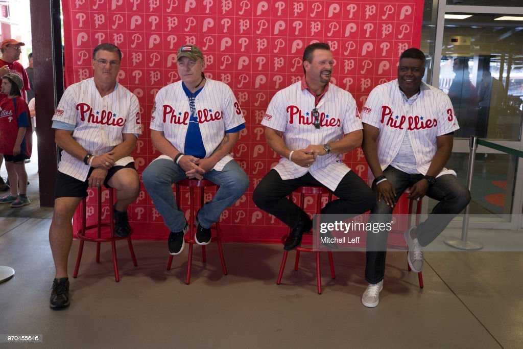 Former Philadelphia Phillies pitchers Danny Jackson, Curt Schilling, Tommy Greene, and Ben Rivera pose for a picture prior to the game against the Milwaukee Brewers at Citizens Bank Park on June 9, 2018 in Philadelphia, Pennsylvania.