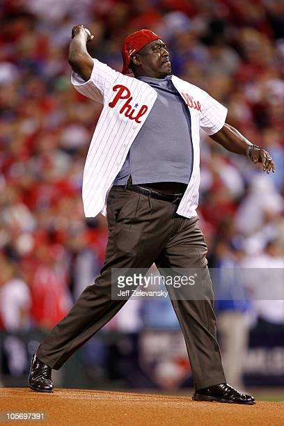 Former Philadelphia Phillies player Gary Matthews Sr throws out the first before the Phillies take on the San Francisco Giants in Game Two of the...