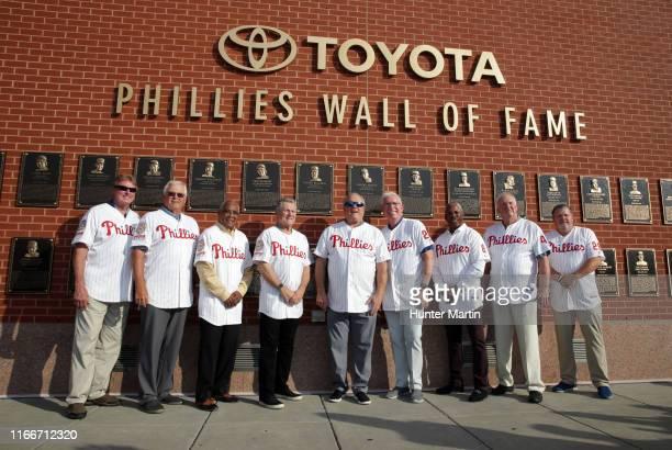 Former Philadelphia Phillies Steve Carlton Bob Boone Tony Taylor Larry Bowa Greg Luzinski Mike Schmidt Juan Samuel Charlie Manuel and John Kruk pose...