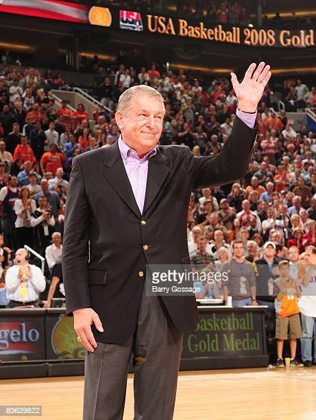 Former Phoenix Suns CEO Jerry Colangelo is honored for his contribution to USA Basketball's Olympic Gold Medal as the Phoenix Suns host the the...