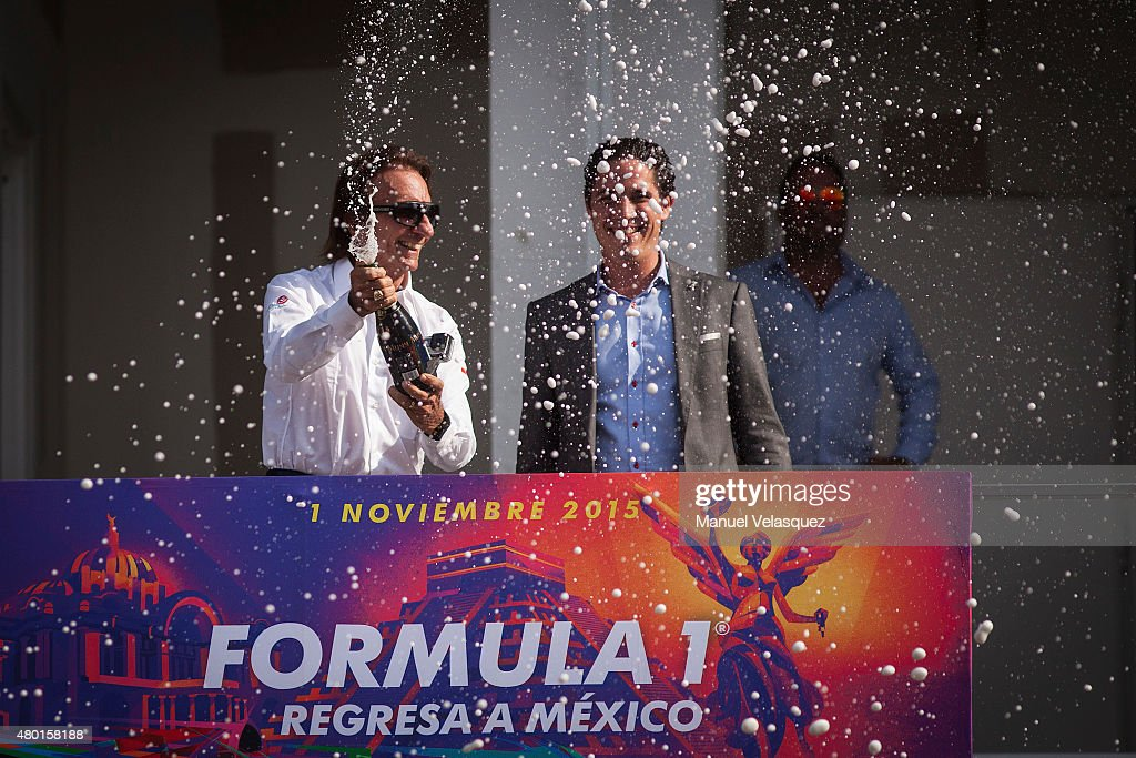 Former pilot Emerson Fittipaldi (L) and Rodrigo Sanchez Formula 1 Marketing Director (R) inaugurate the podium of Hermanos Rodriguez Racetrack on July 09, 2015 in Mexico City, Mexico.