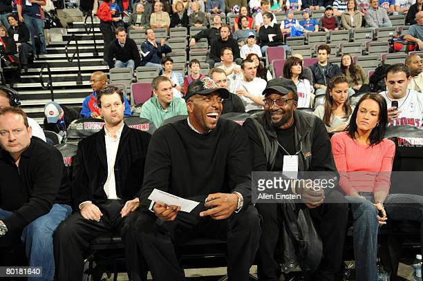 Former Piston John Salley emjoys a game featuring the Detroit Pistons against the Chicago Bulls on March 9 2008 at the Palace of Auburn Hills in...