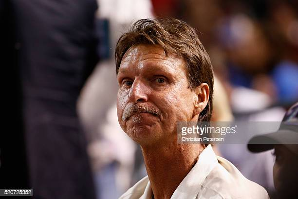 Former pitcher Hall of Famer and Special Assistnat to the President CEO Randy Johnson attends the MLB game against the Chicago Cubs at Chase Field on...