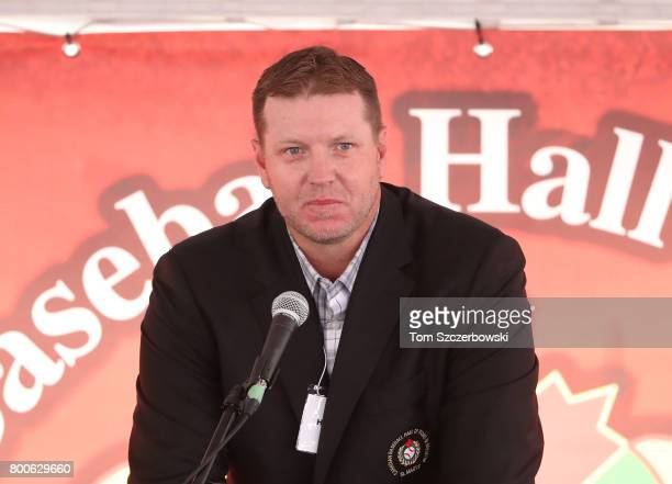 Former pitcher Roy Halladay of the Toronto Blue Jays speaks after being honored during the induction ceremony at the Canadian Baseball Hall of Fame...