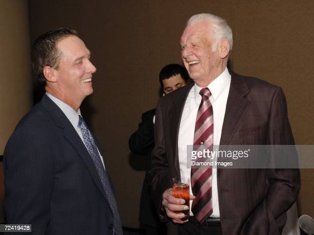 Former pitchers David Cone and Don Larsen share a laugh after greeting each other during the Perfect Evening celebration of the 50th anniversary of...