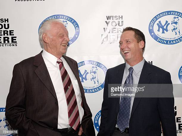 Former pitchers Don Larsen and David Cone share a laugh as they pose together during the Perfect Evening celebration of the 50th anniversary of Don...