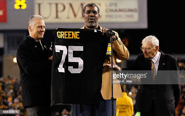 Former Pittsburgh Steelers defensive tackle Joe Greene has his number retired during a ceremony with Steelers President Art Rooney ll and Chairman...