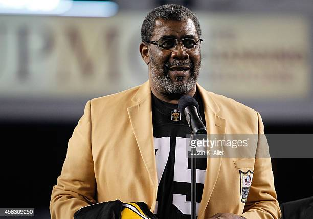 Former Pittsburgh Steelers defensive tackle Joe Greene has his number retired during a halftime ceremony against the Baltimore Ravens at Heinz Field...