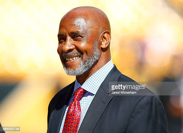 Former Pittsburgh Steelers player Lynn Swann watches warmups from the sideline prior to the game against the San Francisco 49ers at Heinz Field on...